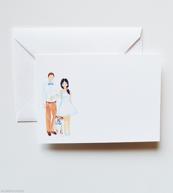 Custom couple illustration note cards | www.mospensstudio.com