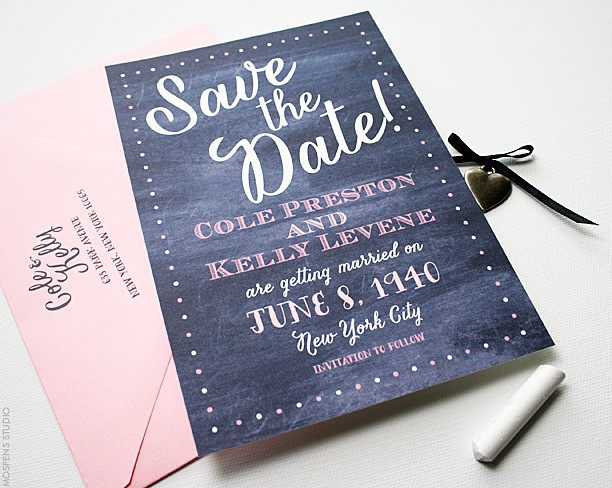 Watercolor chalkboard-inspired save the dates | www.mospensstudio.com
