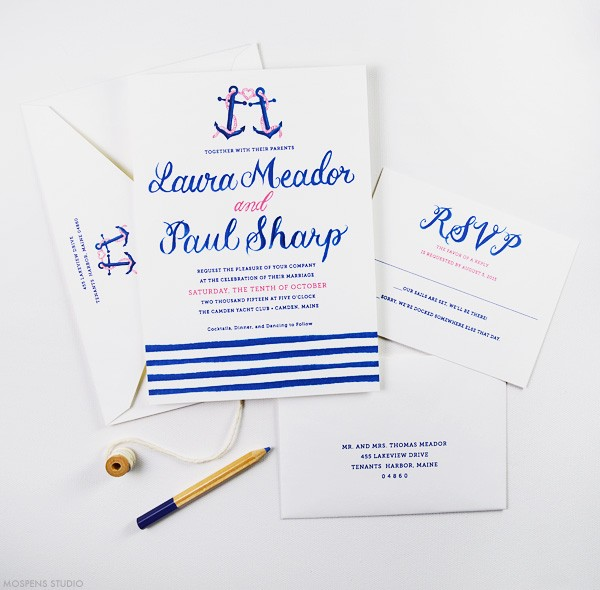 Nautical wedding invitations with anchors | www.mospensstudio