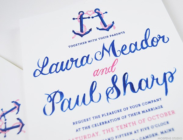 Nautical wedding invites with anchors | www.mospensstudio