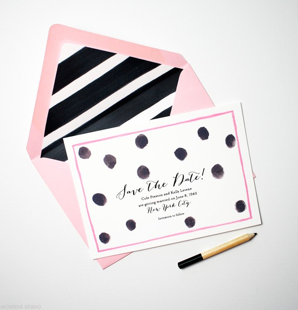 Watercolor polka dots save the dates  | www.mospensstudio.com