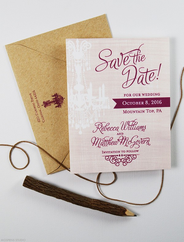 Rustic wedding watercolor save the dates | www.mospensstudio.com