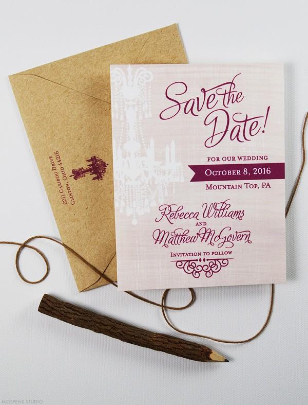Rustic wedding watercolor save the dates | www.mospensstudio.com