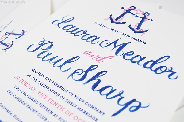 Wedding invitations nautical | www.mospensstudio