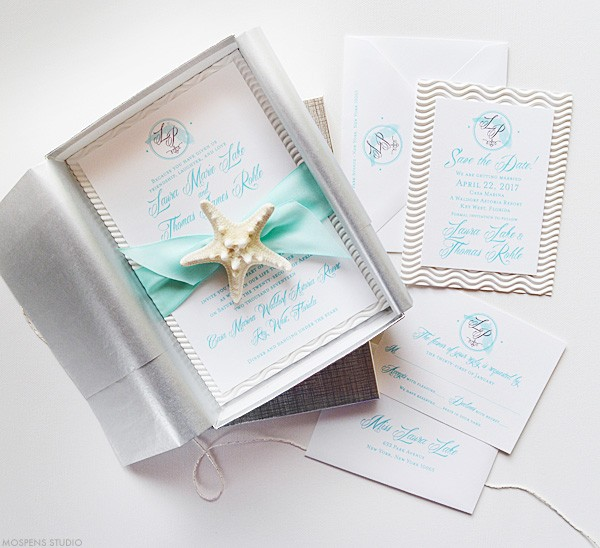 Elegant beach wedding invitations in a box with starfish | www.mospensstudio.com