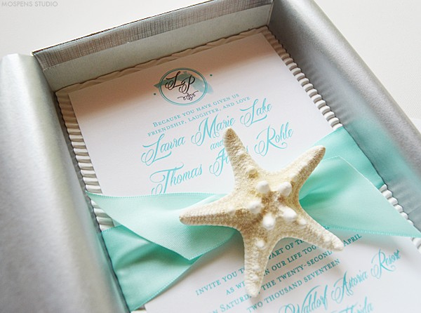 Tiffany Blue Beach Wedding Invitations | Mospens Studio