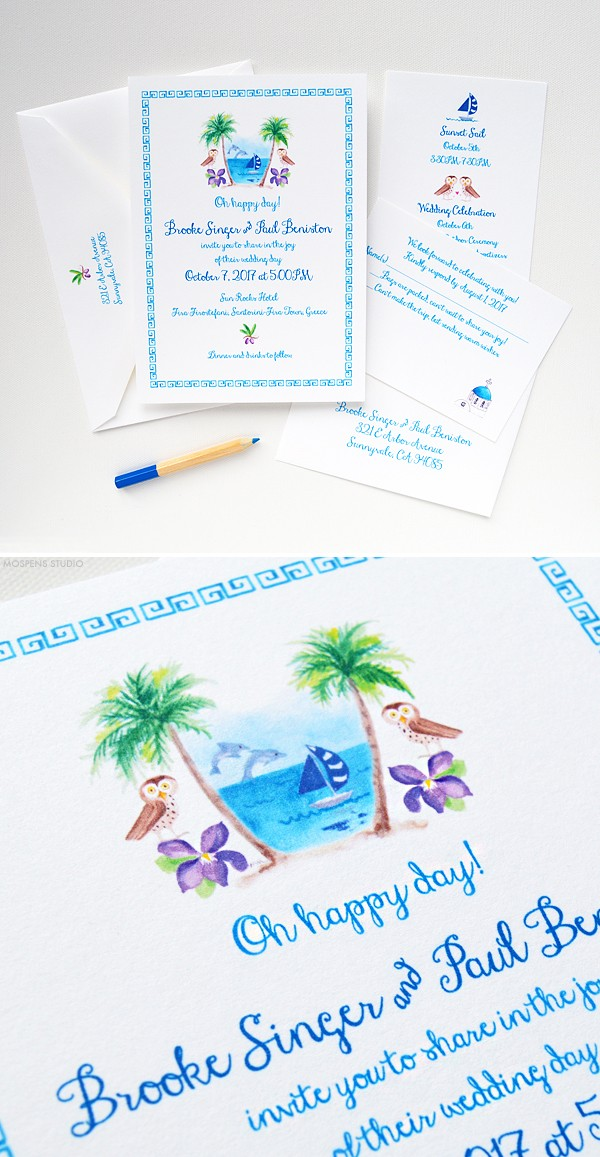 Greece wedding invitations | www.mospensstudio.com