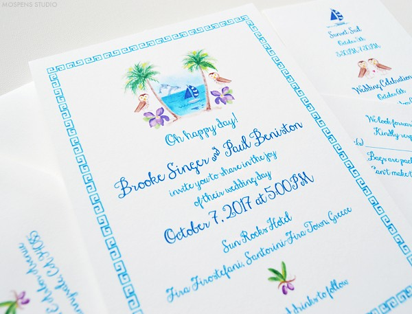 Handpainted Greek Wedding invitations  | www.mospensstudio.com