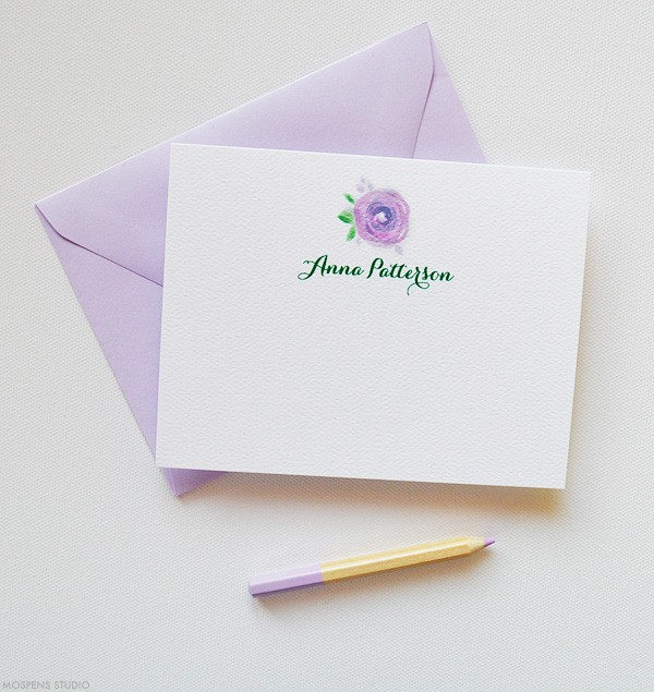 Purple Personalized Thank You Notes | www.mospensstudio.com