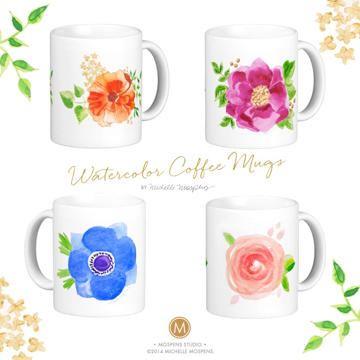 Watercolor coffee mugs by artist Michelle Mospens make your coffee taste better! | Mospens Studio