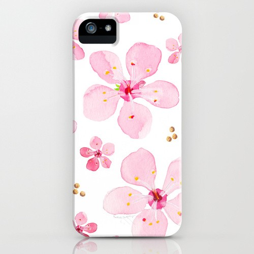 Watercolor cherry blossoms cell phone case by artist Michelle Mospens | Mospens Studio