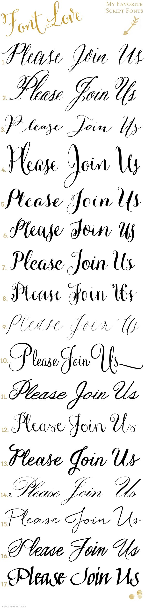 17 Script Fonts you will love for custom invitations by designer Michelle Mospens | www.mospensstudio.com