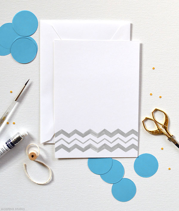 Fun & Modern! D.I.Y. chevron watercolor invitation kits - www.mospensstudio.com