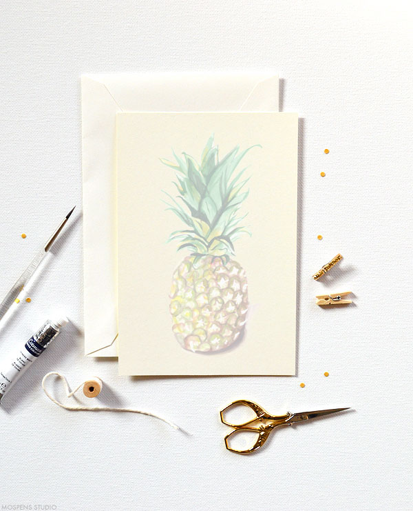 Troipcal chic! D.I.Y. pineapple watercolor invitation kits - www.mospensstudio.com