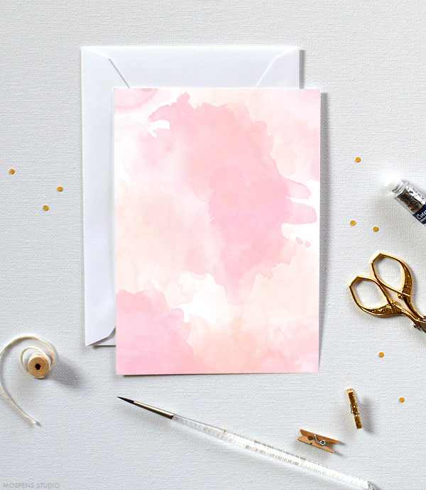 Fun & Modern! D.I.Y. pink and peach watercolor invitation kits - www.mospensstudio.com