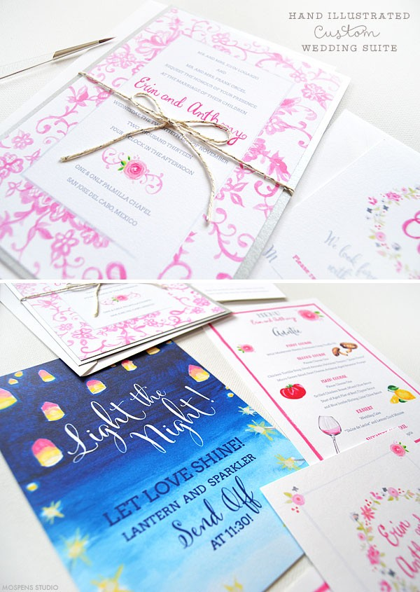 Handmade watercolor wedding invitations - www.mospensstudio.com