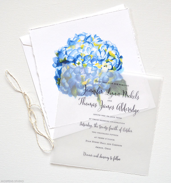 Blue Watercolor Flower Wedding Invitations - Mospens Studio
