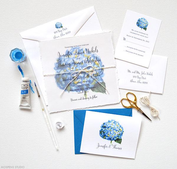 Blue watercolor hydrangea flower wedding invitations - www.mospensstudio.com