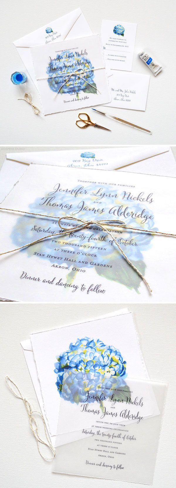 Send your guests an art print invitation! Watercolor Wedding Invitation Suite with original hand painted blue hydrangea flower art, hand torn edging, and twine! - www.mospensstudio.com