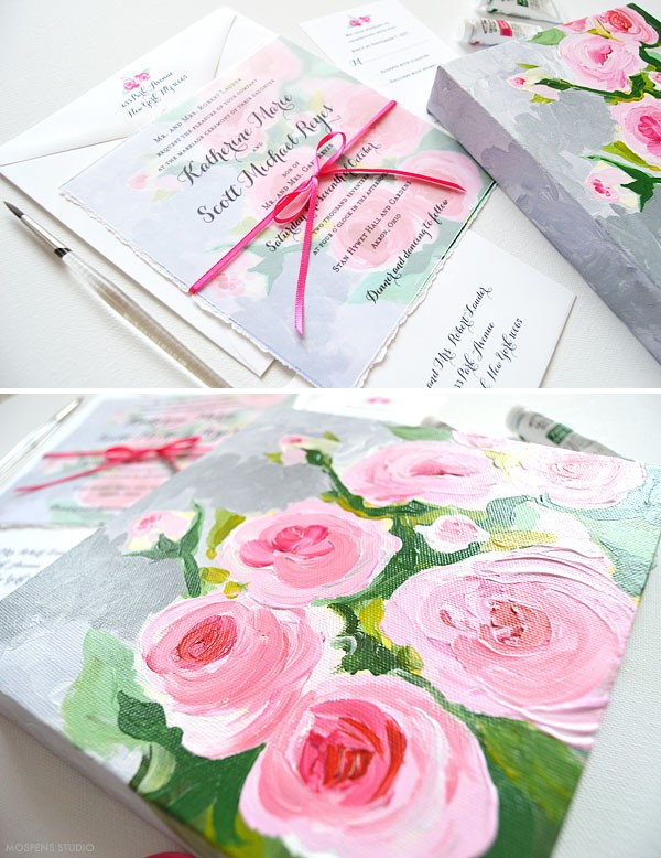 Handmade wedding invitations with hand painted flowers - www.mospensstudio.com