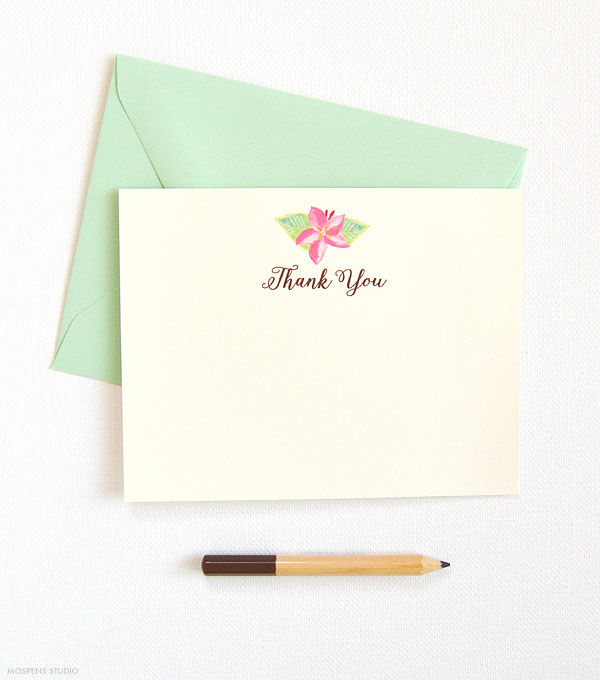 Tropical flower thank you cards - www.mospensstudio.com