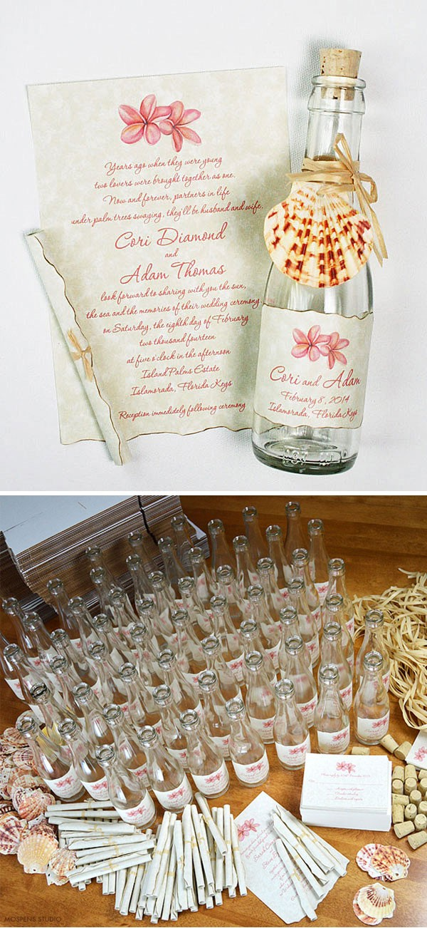 Beach Wedding Invitations in a Bottle - The Tropical Message design features original watercolor plumeria flower art, handcrafted burnt edging, scrolled parchment paper invitation, and a hand tied wraphia. Available online www.mospensstudio.com