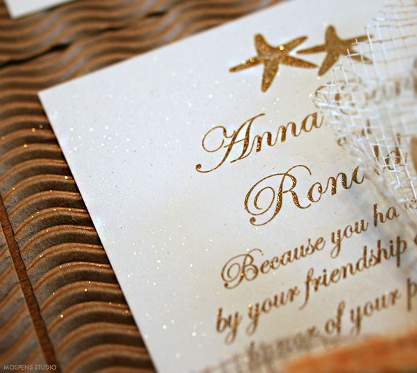 Gorgeous sparkly glitter gold beach wedding invitations - www.mospensstudio.com