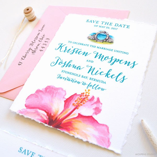 Destination Bermuda! Tropical wedding save the dates - www.mospensstudio.com