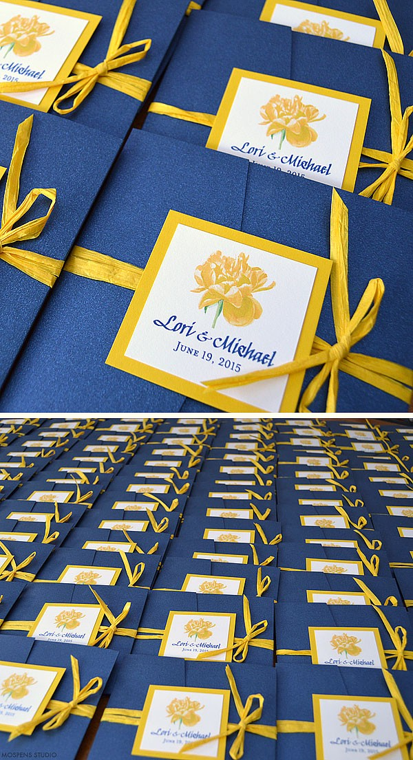 Navy blue and yellow watercolor wedding invitations - www.mospensstudio.com