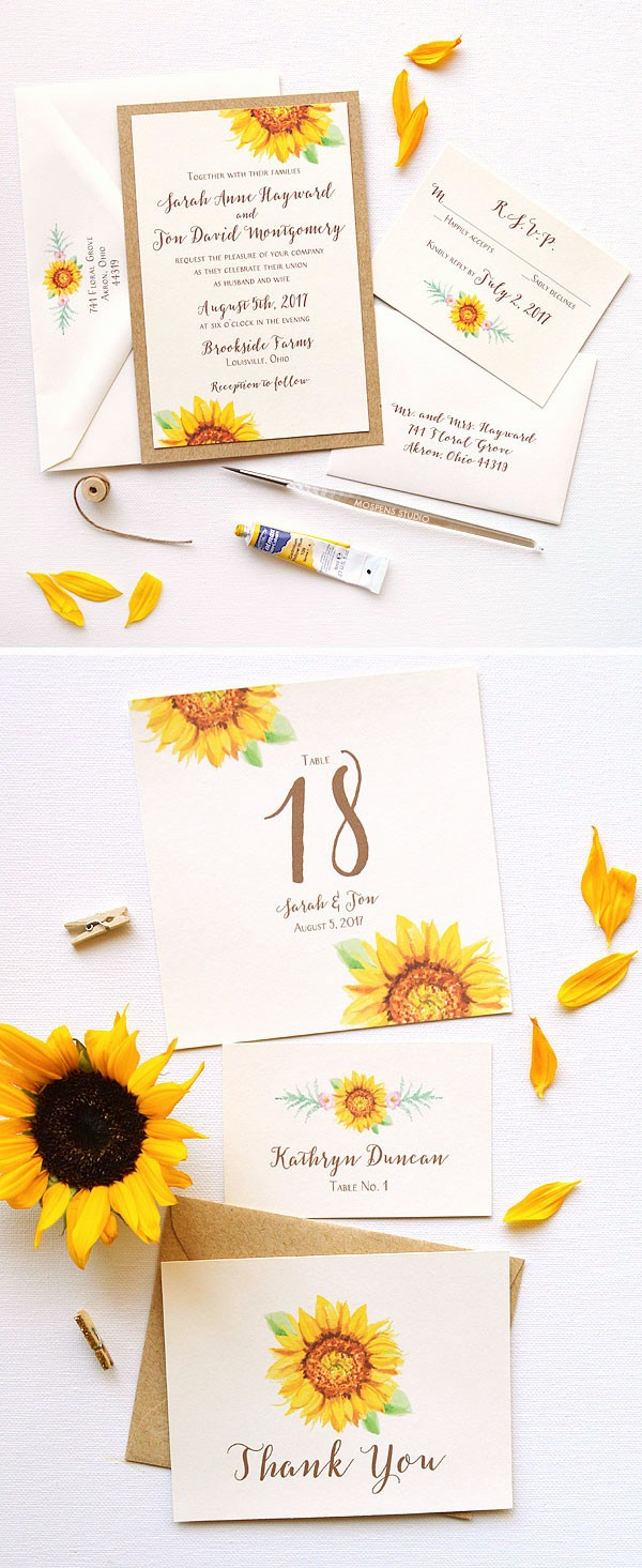 The Sunflower Blooms Wedding Invitation design features country straw card layer, and original watercolor sunflower art. Now available! - www.mospensstudio.com