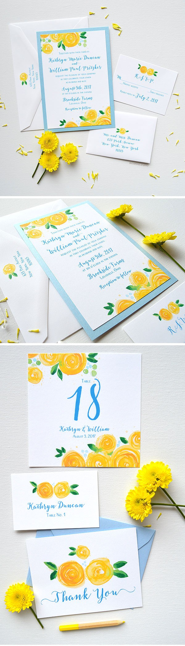 The Yellow Rose Blooms Wedding Invitation design features light blue metallic card layer, original watercolor rose art, and modern fonts in beautiful blue ink. Letterpress and raised ink upgrades available! - www.mospensstudio.com