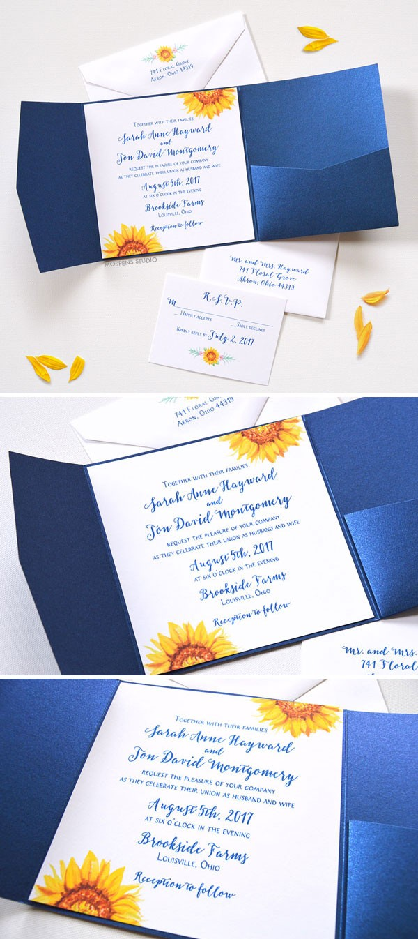 Watercolor Sunflower Blooms Pocket Folder Invitations perfect for a fall wedding. Now available! Completely customizable. - www.mospensstudio.com