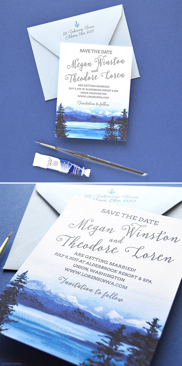 Beautiful watercolor mountain save the date cards. 100% original artwork by Michelle Mospens. - www.mospensstudio.com