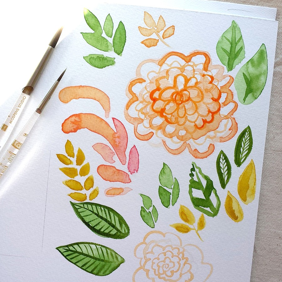 Watercolor fall foliage by artist Michelle Mospens - www.mospensstudio.com