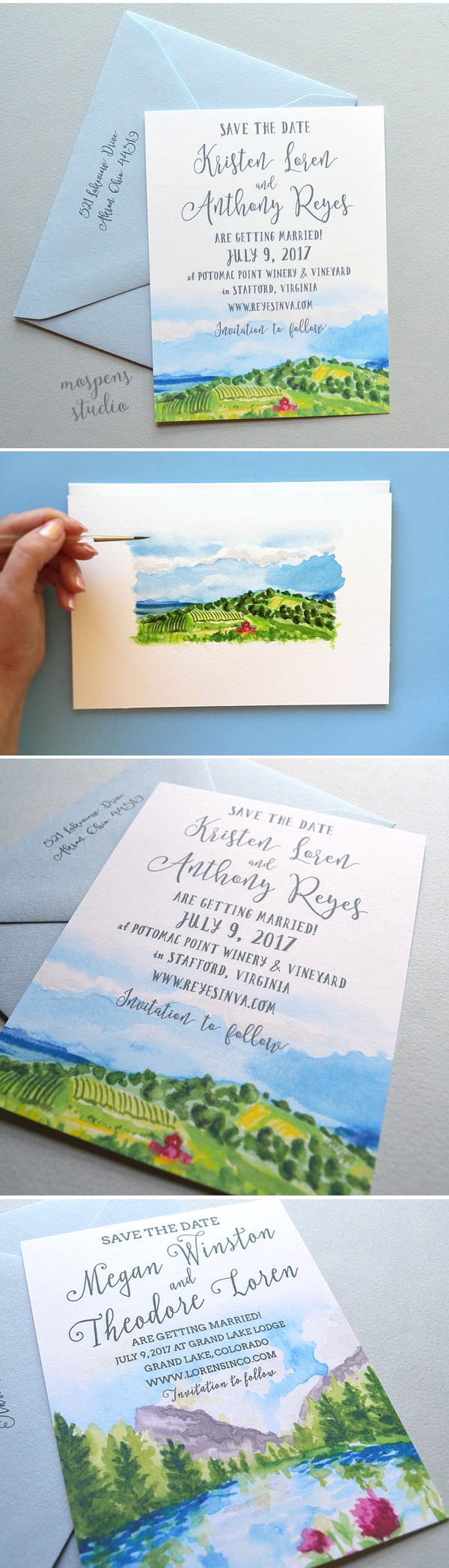 Send the scene! Landscape Save The Date Cards complete with 100% original hand painted watercolor art by Michelle Mospens. Perfect for a rustic and vineyard wedding!! - www.mospensstudio.com