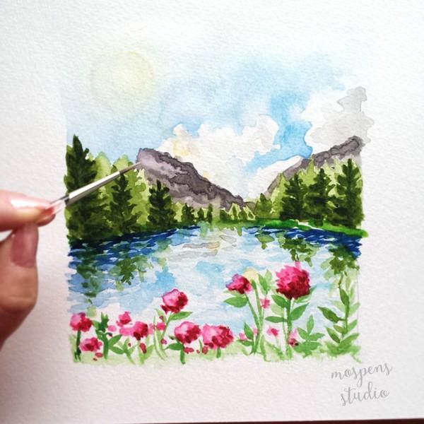 Hand painted custom save the date watercolor artwork by Michelle Mospens. - www.mospensstudio.com