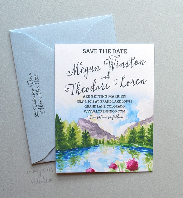 Spring Mountains watercolor save the dates by Michelle Mospens. - www.mospensstudio.com
