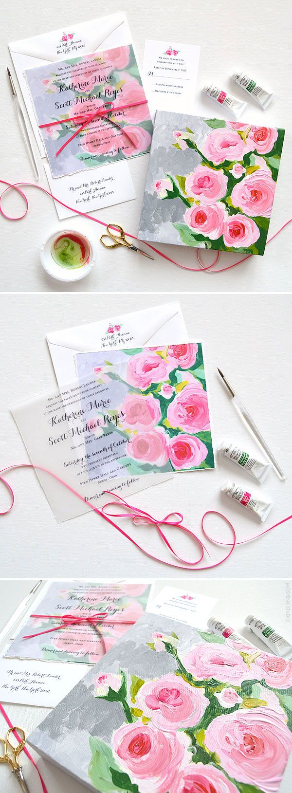 Floral Fine Art Hand Painted Wedding Invitations - The design features original acrylic painted rose flower art, hand torn edging, and a hand tied satin ribbon bow. Now available! - www.mospensstudio.com