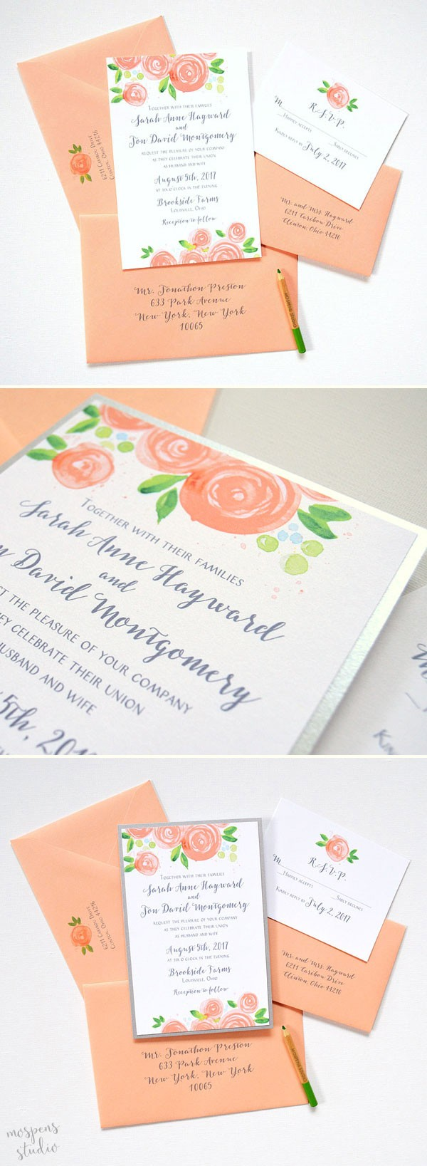 So pretty! Peach rose blooms wedding invitations by artist Michelle Mospens. 100% original watercolor art. - www.mospensstudio.com