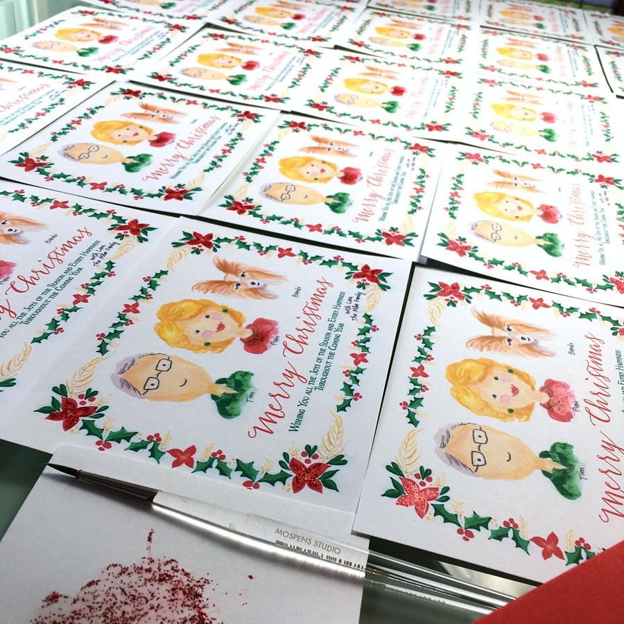 Custom christmas cards with hand-painted watercolor illustrations. - www.mospensstudio.com