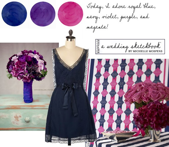 Blue, Pink, Purple Wedding Colors