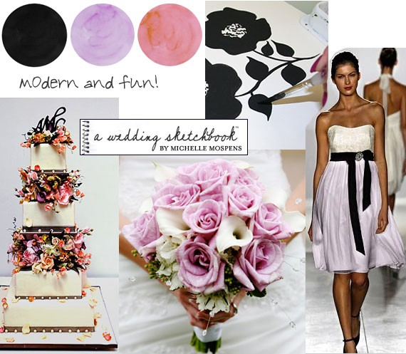 Black And White Wedding Ideas With Orange And Purple