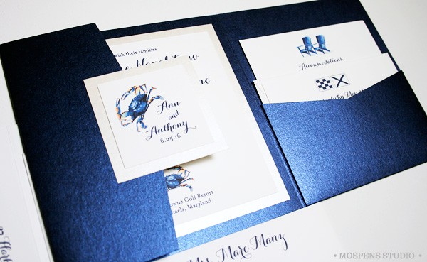 Chesapeake Bay Blue Crab Wedding Invitations