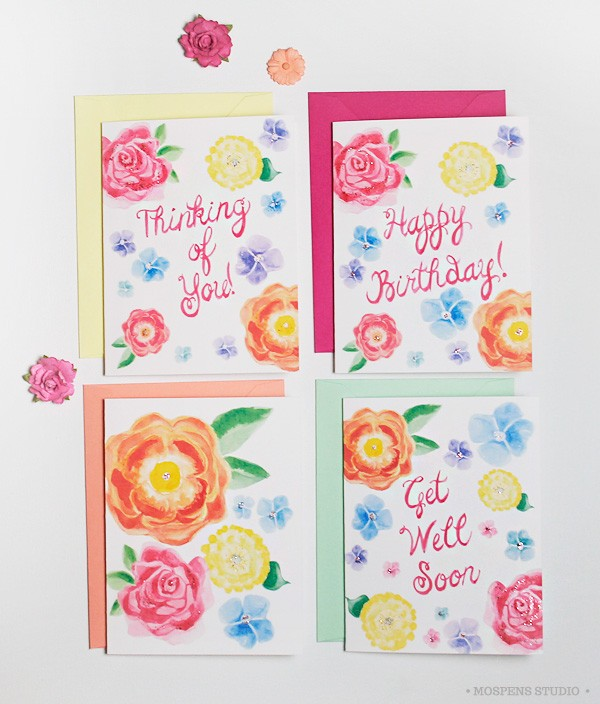Greeting cards illustrated by hand custom watercolor invitations however m4hsunfo