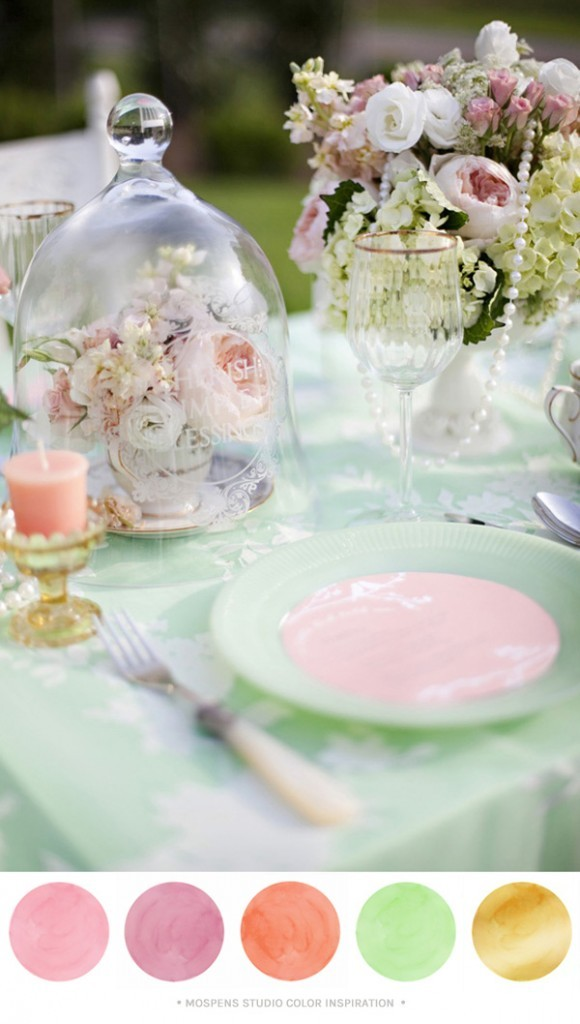 Pink, Mint, Peach, + Gold : Color Inspiration | Custom Watercolor ...