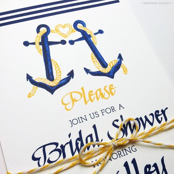 Cute nautical bridal shower wedding invitations MospensStudio