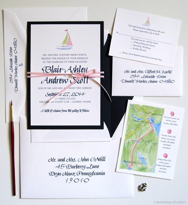 Sailboat Wedding Invitations: Unique Nautical Wedding Invitations MospensStudio.com