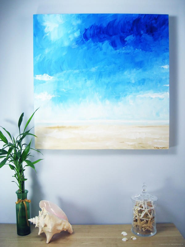 Original art painting beach painting by fine artist Michelle Mospens.