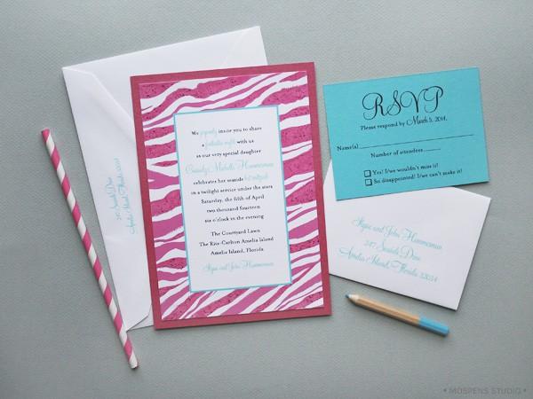 Bat Mitzvah Invitations Modern Pink Mospens Studio