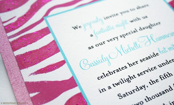 Bat Mitzvah Invitations modern pink zebra design // MospensStudio.com